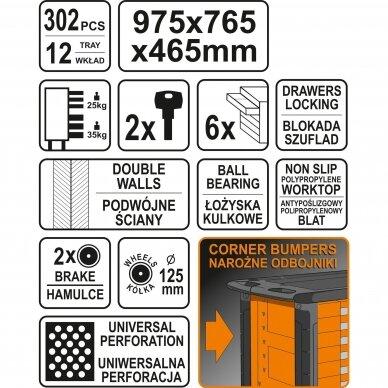 Įrankių spintelė Sthor 302 įrankiai, 6 stalčiai (58550) 10