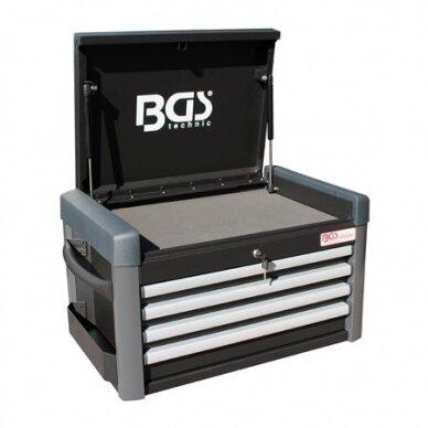 Įrankių spintelė su ratukais BGS-technic Pro Standard Max, 12 stalčių, su 296 įrankiais 2