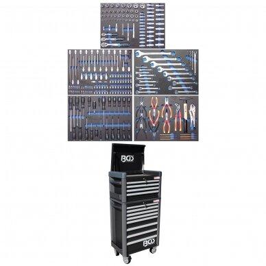 Įrankių spintelė su ratukais BGS-technic Pro Standard Max, 12 stalčių, su 296 įrankiais