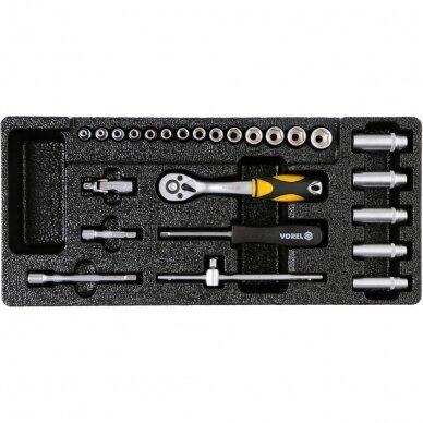 Įrankių spintelė Vorel 177 įrankiai, 6 stalčiai (58540) 18