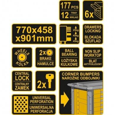 Įrankių spintelė Vorel 177 įrankiai, 6 stalčiai (58540) 5