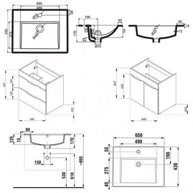 Spintelė su praustuvu Jika Cube 65 cm 2