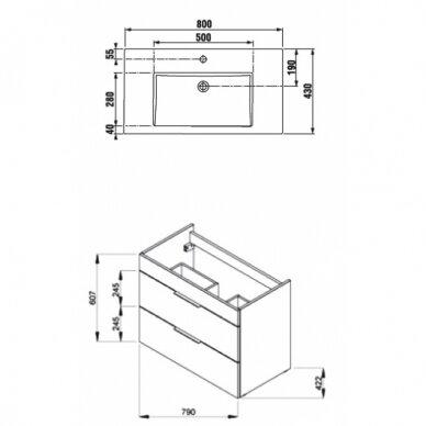 Spintelė su praustuvu Jika Cube 80 cm 2