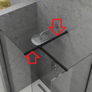 Juodas statramstis nuo stiklo iki sienos W SET dušo kabinai Ravak Walk-in Double Wall