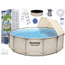 Karkasinis baseinas Bestway rack pool roof 396x107cm 5614V
