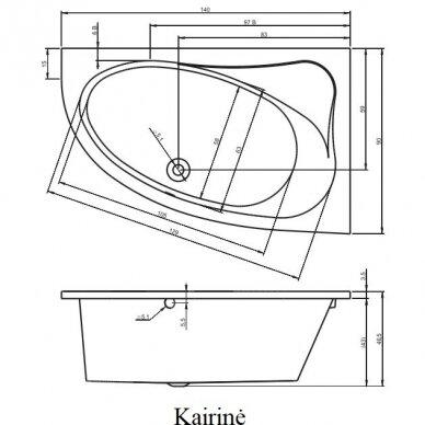 Kampinė akrilo vonia Riho Lyra 140, 153,5, 170 cm 4