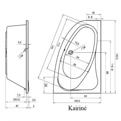 Kampinė akrilo vonia Riho Lyra 140, 153,5, 170 cm 5