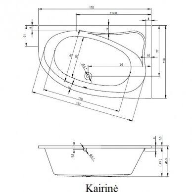 Kampinė akrilo vonia Riho Lyra 140, 153,5, 170 cm 7