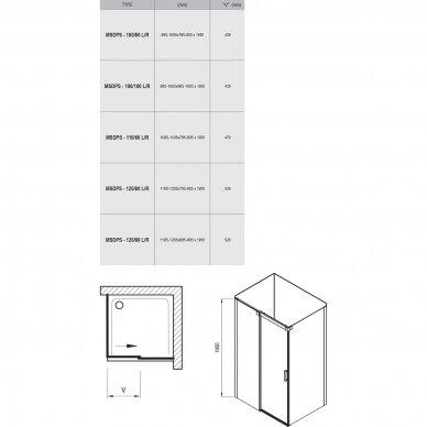 Kampinė dušo kabina Ravak Matrix MSDPS 100, 110, 120 cm 9
