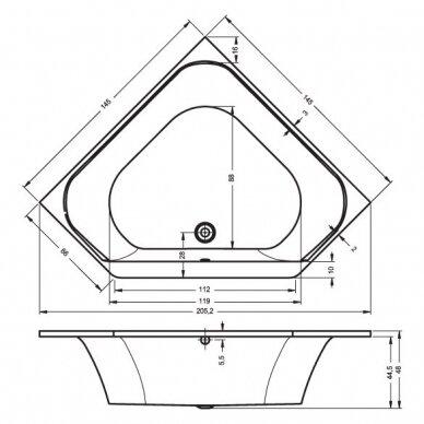 Kampinė vonia Riho Austin 145 cm 2