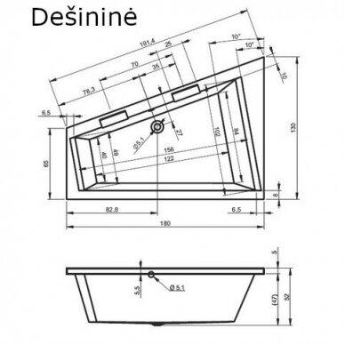 Kampinė vonia Riho Doppio 180 cm 3
