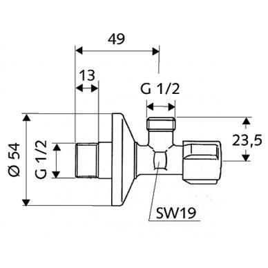"""Kampinis ventilis 1/2""""x1/2"""" COMFORT 2"""