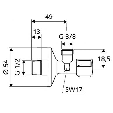 """Kampinis ventilis 1/2""""x3/8"""" COMFORT 2"""