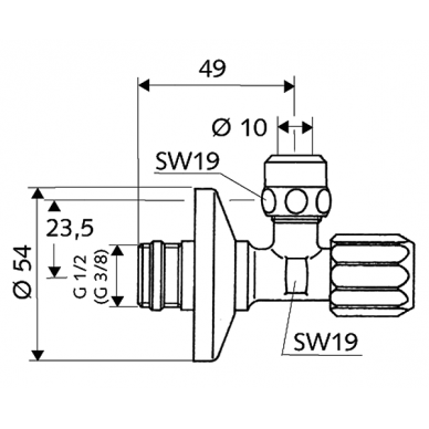 """Kampinis ventilis 1/2""""xDN10 su filtru 2"""