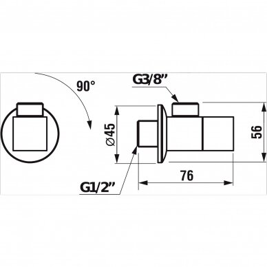 Kampinis ventilis Jika Cubito 2 vnt. 2