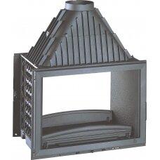 Ketinis židinio ugniakuras Invicta Double Face su dviem fasadais, 14 kW, 140 m², malkinis