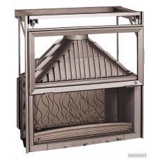 Ketinis židinio ugniakuras Invicta Grande Vision 1100 su tiesiu stiklu, 180 m², 18 kW, malkinis