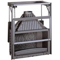 Ketinis židinio ugniakuras Invicta Grande Vision 900 su kontrsvoriais pakeliamu tiesiu stiklu, 180 m², malkinis, 18 kW