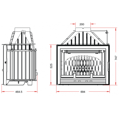 Ketinis židinio ugniakuras Invicta Compact su sklende, 18 kW, 145 m², malkinis 2