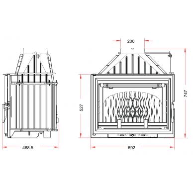 Ketinis židinio ugniakuras Invicta Grande Vision 700 su tiesiu stiklu (s.k.6270.44), 12 kW, 150 m², malkinis 2