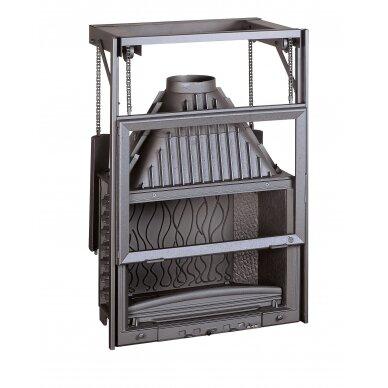 Ketinis židinio ugniakuras Invicta Grande Vision 800 su kontrsvoriais pakeliamu tiesiu stiklu, malkinis, 14 kW, 140 m²