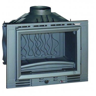 Ketinis židinio ugniakuras Invicta Minos 700 su tiesiu stiklu be sklendės, 14 kW, malkinis, 140 m²