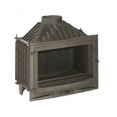 Ketinis židinio ugniakuras Invicta Selenic 700 su tiesiu stiklu, malkinis, 14 kW, 140 m²