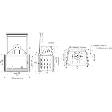Ketinis židinio ugniakuras Seguin Europa 7 (F0400), 13 kW, 130 m2, malkinis 2