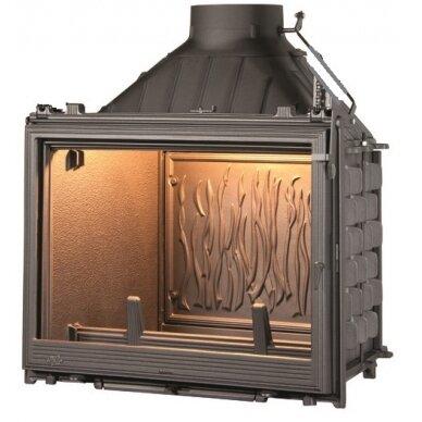Ketinis židinio ugniakuras Seguin Kiteflam DESIGN Efekt, dv. degimo sistema (F1400+DC14-D), 140 m2, 14 kW, malkinis