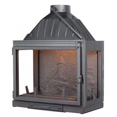 Ketinis židinio ugniakuras Seguin Multivision 8000, su papildomais šoniniais stiklais (F0803), 160 m2, malkinis, 16 kW