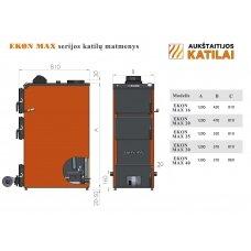 Kieto kuro katilas EKON-MAX+E, apatinio degimo, 40kW, su orapūte, valdikliu ir dūmų temperatūros davikliu