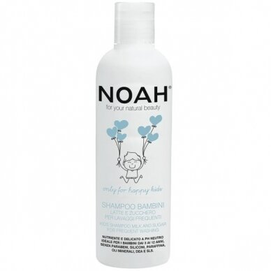 Vaikiškas maitinamasis šampūnas Noah su pienu ir cukrumi dažnam naudojimui 250 ml