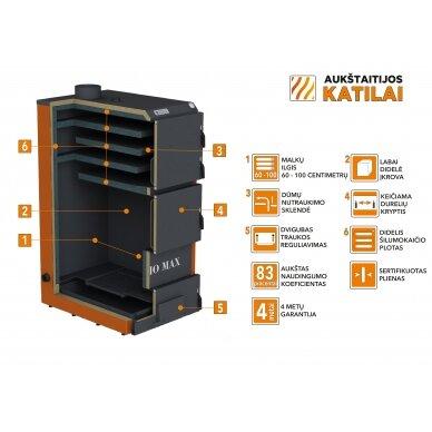 Kieto kuro katilas BIO MAX+E, 100 kW, su orapūte, valdikliu ir dūmų temperatūros davikliu 4