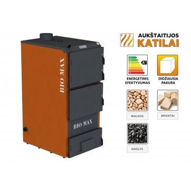 Kieto kuro katilas BIO MAX+E, 50 kW, su orapūte, valdikliu ir dūmų temperatūros davikliu