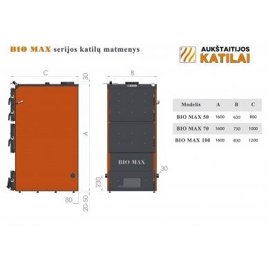 Kieto kuro katilas BIO MAX+E, 50 kW, su orapūte, valdikliu ir dūmų temperatūros davikliu 5