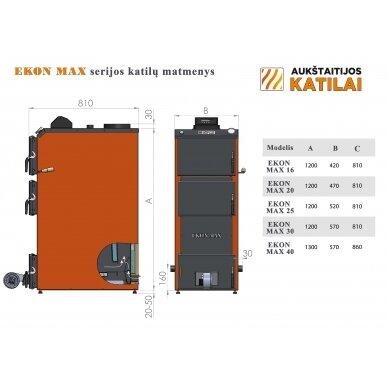 Kieto kuro katilas EKON-MAX+E, apatinio degimo, 16kW, su orapūte, valdikliu ir dūmų temperatūros davikliu 3