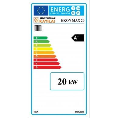 Kieto kuro katilas EKON-MAX+E, apatinio degimo, 20kW, su orapūte, valdikliu ir dūmų temperatūros davikliu 3