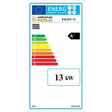 Kieto kuro katilas EKON+E, apatinio degimo, 13kW, su orapūte, valdikliu ir dūmų temperatūros davikliu 3