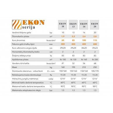 Kieto kuro katilas EKON+E, apatinio degimo, 16kW, su orapūte, valdikliu ir dūmų temperatūros davikliu 2