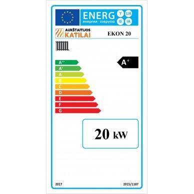 Kieto kuro katilas EKON+E, apatinio degimo, 20kW, su orapūte, valdikliu ir dūmų temperatūros davikliu 5