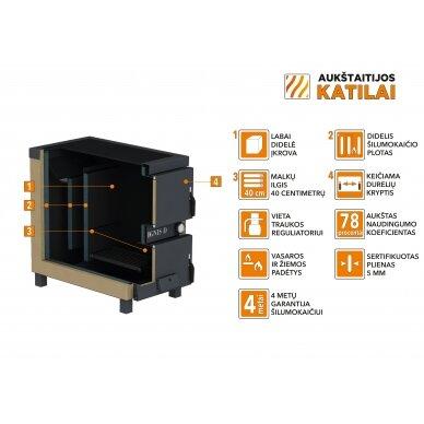 Kieto kuro katilas-viryklė, AKT Ignis D, 15 kW 3