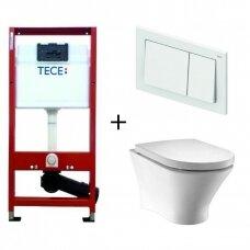 Komplektas Roca Nexo Rimless pakabinamas WC ir Tece potinkinis rėmas