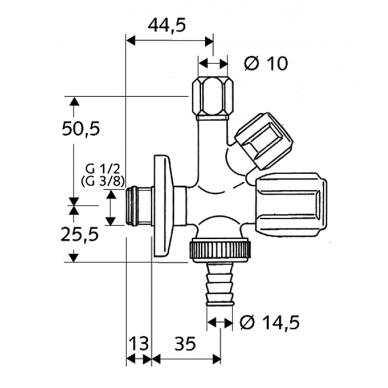 Kombinuotas kampinis ventilis COMFORT 2