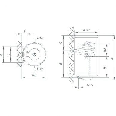 Kombinuotas vanden šildytuvas Gorenje TGRK 150 LN/RN 2