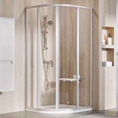 Komplektas: dušo kabina Ravak SKCP4 80, 90 cm su padėklu ir sifonu