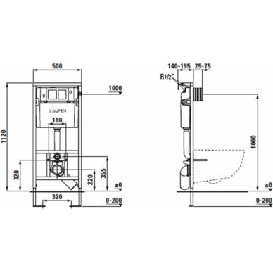 Komplektas: Laufen unitazas Pro New, potinkinis rėmas LIS CW1 7