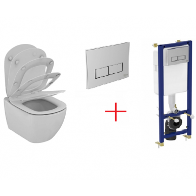 Komplektas: pakabinamas WC, Thin Soft Close dangtis, 3in1 rėmas