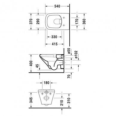 Komplektas TECE potinkinis WC rėmas +Pakabinamas WC 4