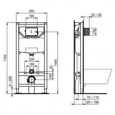 Komplektas: WC rėmas Ideal Standard Prosys 120 M su klavišu, klozetas su dangčiu 6