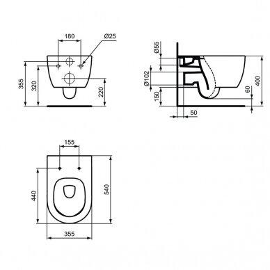 Komplektas: WC rėmas Ideal Standard Prosys 120 M su klavišu, klozetas su dangčiu 8